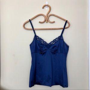 Vintage 90s Vanity Fair Navy Blue Lace Cami slip